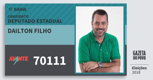Santinho Dailton Filho 70111 (AVANTE) Deputado Estadual | Bahia | Eleições 2018