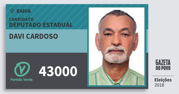 Santinho Davi Cardoso 43000 (PV) Deputado Estadual | Bahia | Eleições 2018