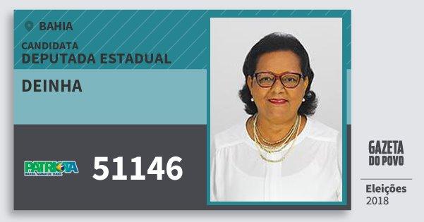 Santinho Deinha 51146 (PATRI) Deputada Estadual | Bahia | Eleições 2018