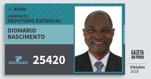 Santinho Diomario Nascimento 25420 (DEM) Deputado Estadual | Bahia | Eleições 2018