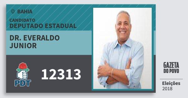 Santinho Dr. Everaldo Junior 12313 (PDT) Deputado Estadual | Bahia | Eleições 2018