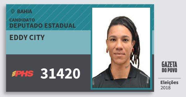 Santinho Eddy City 31420 (PHS) Deputado Estadual | Bahia | Eleições 2018