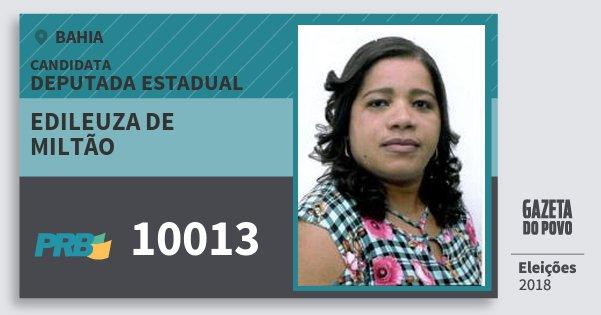 Santinho Edileuza de Miltão 10013 (PRB) Deputada Estadual | Bahia | Eleições 2018