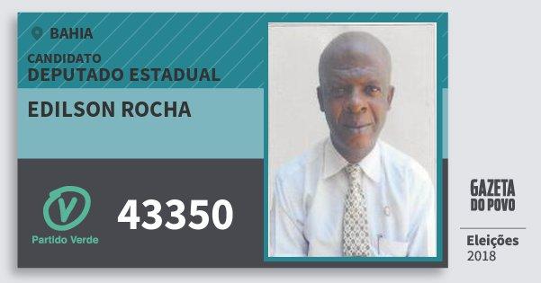 Santinho Edilson Rocha 43350 (PV) Deputado Estadual | Bahia | Eleições 2018