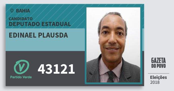 Santinho Edinael Plausda 43121 (PV) Deputado Estadual | Bahia | Eleições 2018