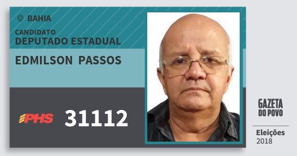 Santinho Edmilson  Passos 31112 (PHS) Deputado Estadual | Bahia | Eleições 2018