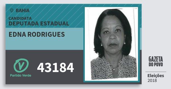 Santinho Edna Rodrigues 43184 (PV) Deputada Estadual | Bahia | Eleições 2018