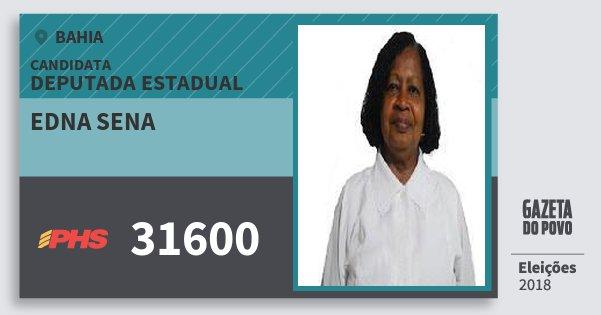 Santinho Edna Sena 31600 (PHS) Deputada Estadual | Bahia | Eleições 2018