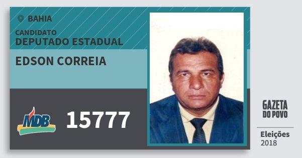 Santinho Edson Correia 15777 (MDB) Deputado Estadual | Bahia | Eleições 2018