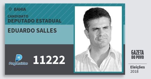 Santinho Eduardo Salles 11222 (PP) Deputado Estadual | Bahia | Eleições 2018