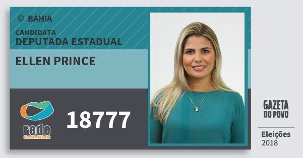 Santinho Ellen Prince 18777 (REDE) Deputada Estadual | Bahia | Eleições 2018