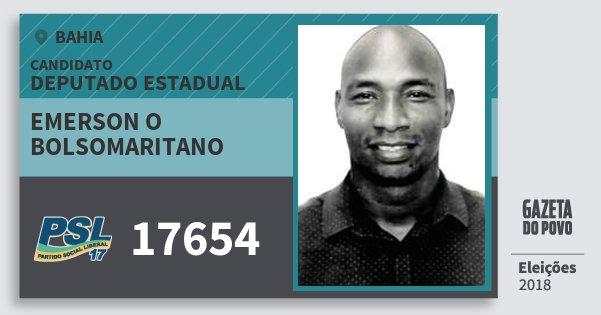 Santinho Emerson O Bolsomaritano 17654 (PSL) Deputado Estadual | Bahia | Eleições 2018