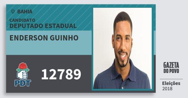 Santinho Enderson Guinho 12789 (PDT) Deputado Estadual | Bahia | Eleições 2018