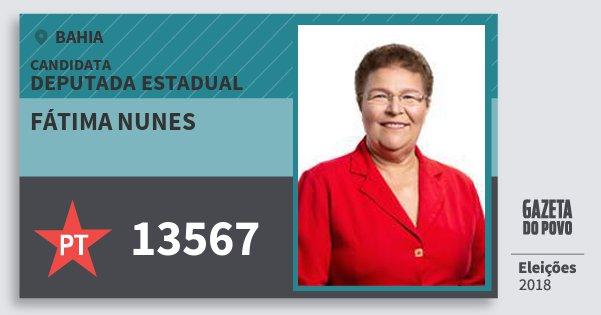 Santinho Fátima Nunes 13567 (PT) Deputada Estadual | Bahia | Eleições 2018