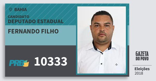 Santinho Fernando Filho 10333 (PRB) Deputado Estadual | Bahia | Eleições 2018