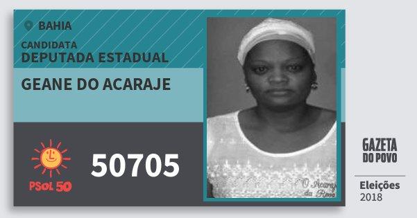 Santinho Geane do Acaraje 50705 (PSOL) Deputada Estadual | Bahia | Eleições 2018