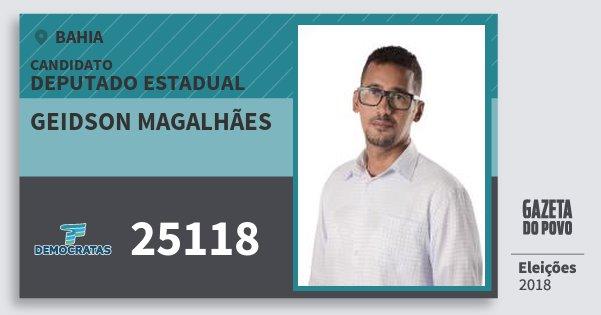 Santinho Geidson Magalhães 25118 (DEM) Deputado Estadual | Bahia | Eleições 2018