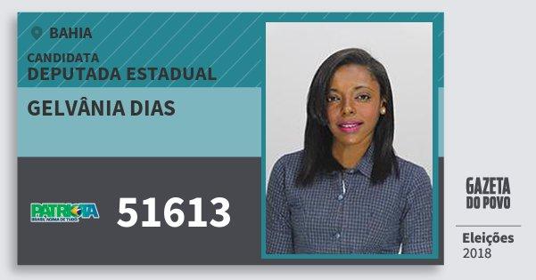 Santinho Gelvânia Dias 51613 (PATRI) Deputada Estadual | Bahia | Eleições 2018