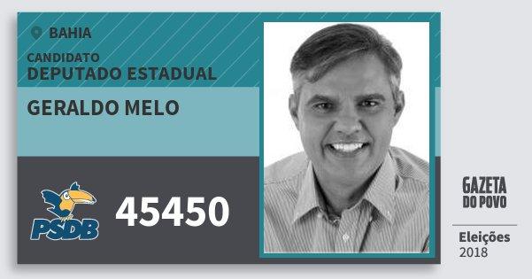 Santinho Geraldo Melo 45450 (PSDB) Deputado Estadual | Bahia | Eleições 2018