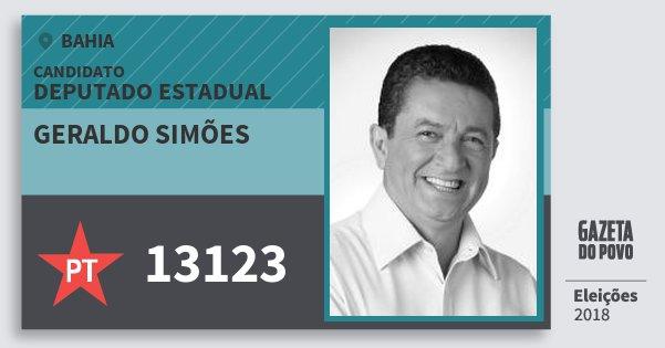 Santinho Geraldo Simões 13123 (PT) Deputado Estadual | Bahia | Eleições 2018