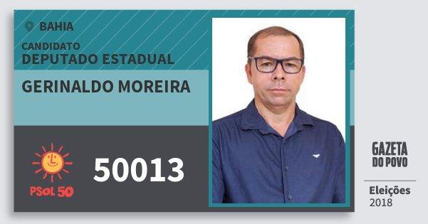 Santinho Gerinaldo Moreira 50013 (PSOL) Deputado Estadual | Bahia | Eleições 2018