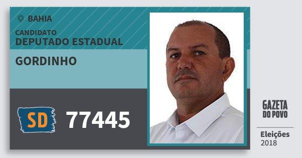 Santinho Gordinho 77445 (SOLIDARIEDADE) Deputado Estadual | Bahia | Eleições 2018