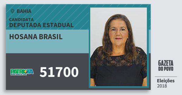 Santinho Hosana Brasil 51700 (PATRI) Deputada Estadual | Bahia | Eleições 2018