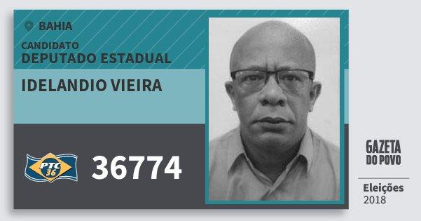 Santinho Idelandio Vieira 36774 (PTC) Deputado Estadual | Bahia | Eleições 2018