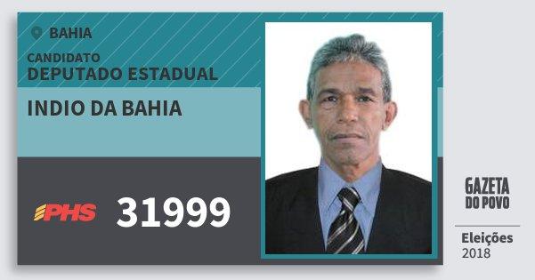 Santinho Indio da Bahia 31999 (PHS) Deputado Estadual | Bahia | Eleições 2018
