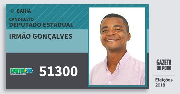 Santinho Irmão Gonçalves 51300 (PATRI) Deputado Estadual | Bahia | Eleições 2018