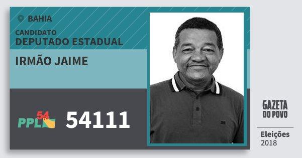 Santinho Irmão Jaime 54111 (PPL) Deputado Estadual | Bahia | Eleições 2018