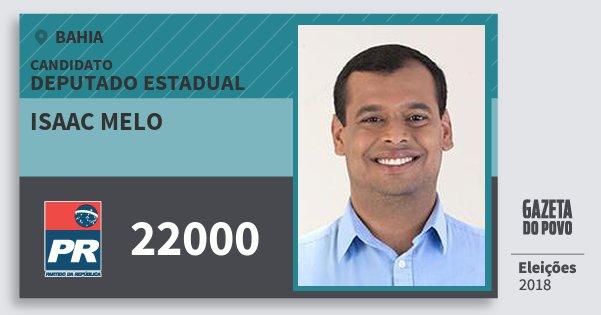 Santinho Isaac Melo 22000 (PR) Deputado Estadual | Bahia | Eleições 2018