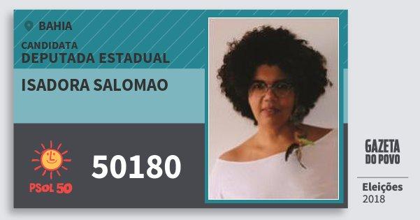 Santinho Isadora Salomao 50180 (PSOL) Deputada Estadual | Bahia | Eleições 2018