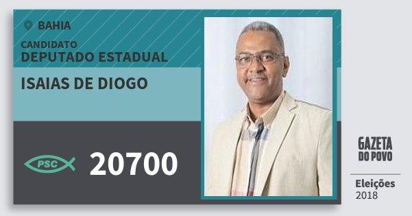 Santinho Isaias de Diogo 20700 (PSC) Deputado Estadual | Bahia | Eleições 2018