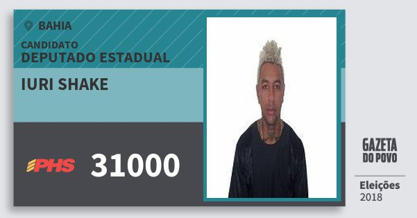 Santinho Iuri Shake 31000 (PHS) Deputado Estadual | Bahia | Eleições 2018