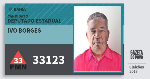 Santinho Ivo Borges 33123 (PMN) Deputado Estadual | Bahia | Eleições 2018