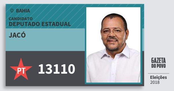 Santinho Jacó 13110 (PT) Deputado Estadual | Bahia | Eleições 2018