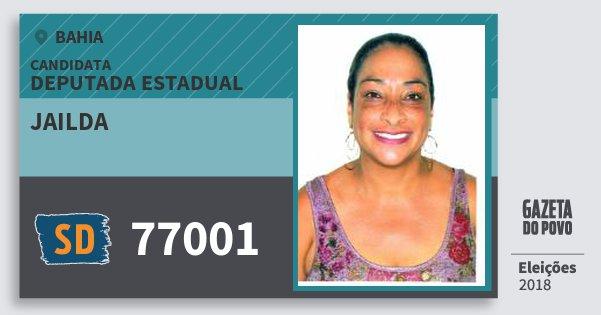 Santinho Jailda 77001 (SOLIDARIEDADE) Deputada Estadual | Bahia | Eleições 2018