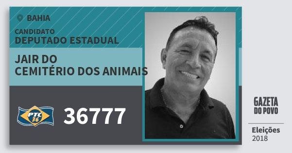 Santinho Jair do Cemitério dos Animais 36777 (PTC) Deputado Estadual | Bahia | Eleições 2018
