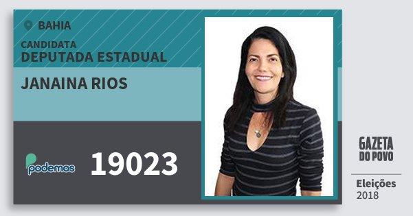 Santinho Janaina Rios 19023 (PODE) Deputada Estadual | Bahia | Eleições 2018