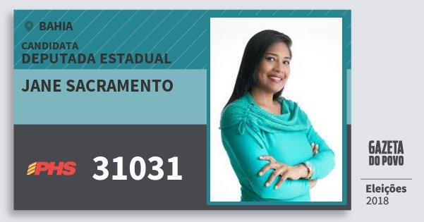 Santinho Jane Sacramento 31031 (PHS) Deputada Estadual | Bahia | Eleições 2018