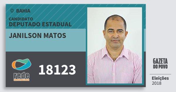 Santinho Janilson Matos 18123 (REDE) Deputado Estadual | Bahia | Eleições 2018