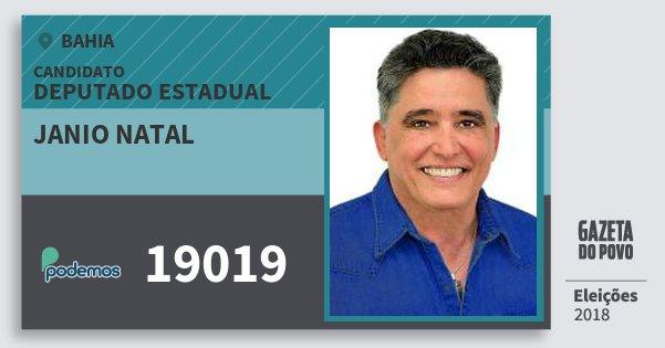 Santinho Janio Natal 19019 (PODE) Deputado Estadual | Bahia | Eleições 2018