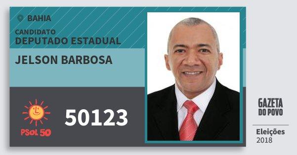 Santinho Jelson Barbosa 50123 (PSOL) Deputado Estadual | Bahia | Eleições 2018