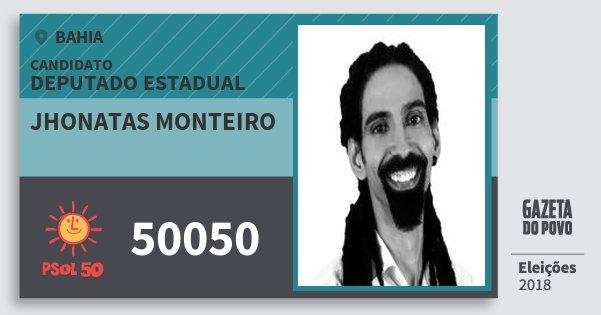 Santinho Jhonatas Monteiro 50050 (PSOL) Deputado Estadual | Bahia | Eleições 2018