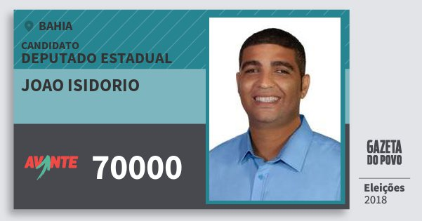 Santinho Joao Isidorio 70000 (AVANTE) Deputado Estadual | Bahia | Eleições 2018