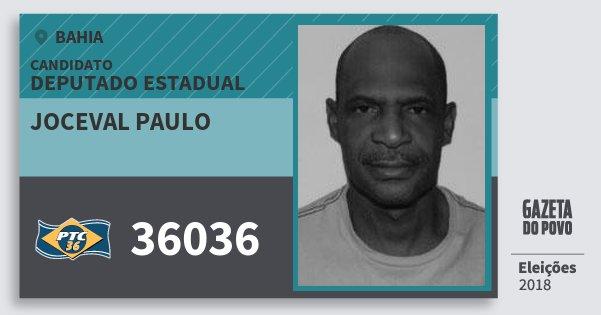 Santinho Joceval Paulo 36036 (PTC) Deputado Estadual | Bahia | Eleições 2018