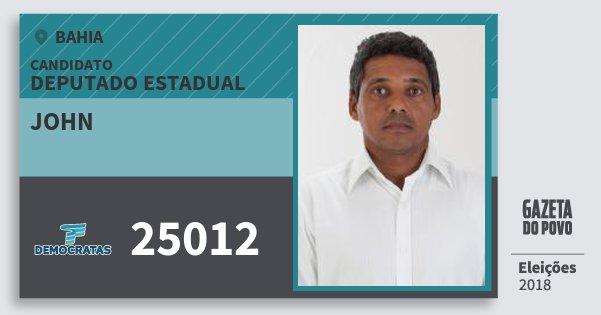 Santinho John 25012 (DEM) Deputado Estadual | Bahia | Eleições 2018