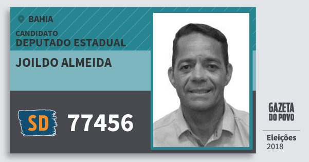 Santinho Joildo Almeida 77456 (SOLIDARIEDADE) Deputado Estadual | Bahia | Eleições 2018