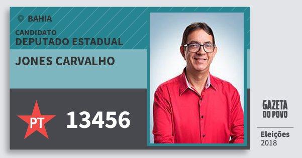 Santinho Jones Carvalho 13456 (PT) Deputado Estadual | Bahia | Eleições 2018